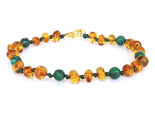 Luxurious Baby and Mother Amber and Green Gems Bracelet
