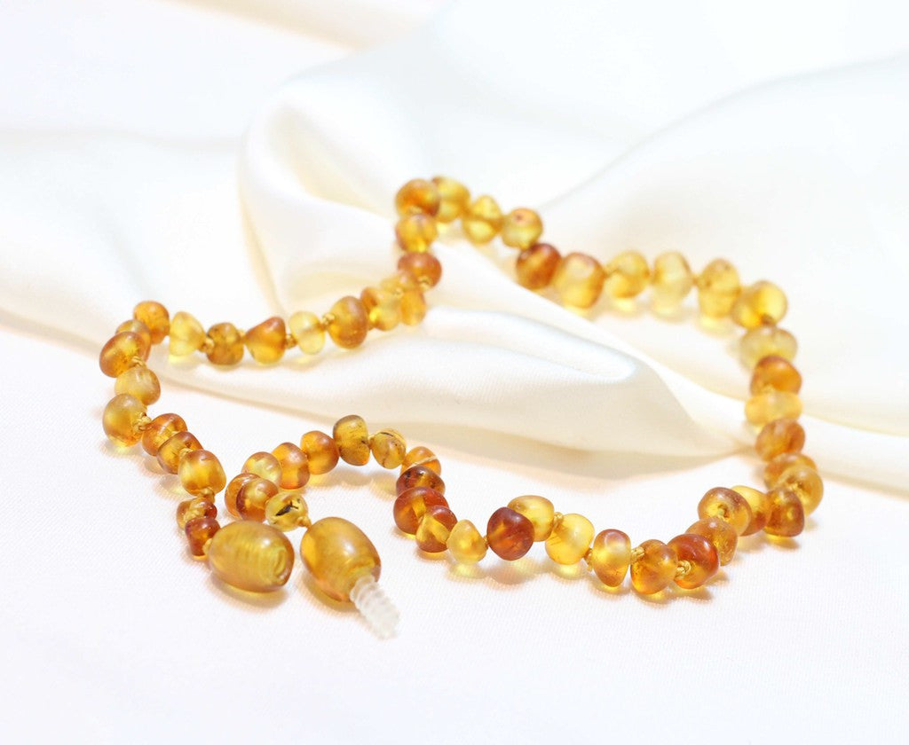 Baby Unpolished  Baltic Amber Teething Beads - lemon