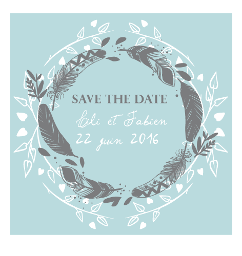 Save the date magnet couronne de plume