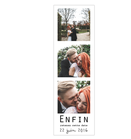 Save the date magnet Photomaton Enfin