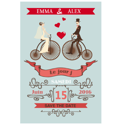 Save the date magnet retro