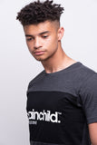 Men's Charcoal Grey/Black Contrast Panel T-shirt