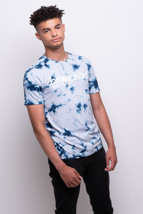 Men's Light Blue/Dark Blue Batik T-shirt
