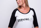 Ladies White/Black 3/4 Contrast Raglan T-shirt