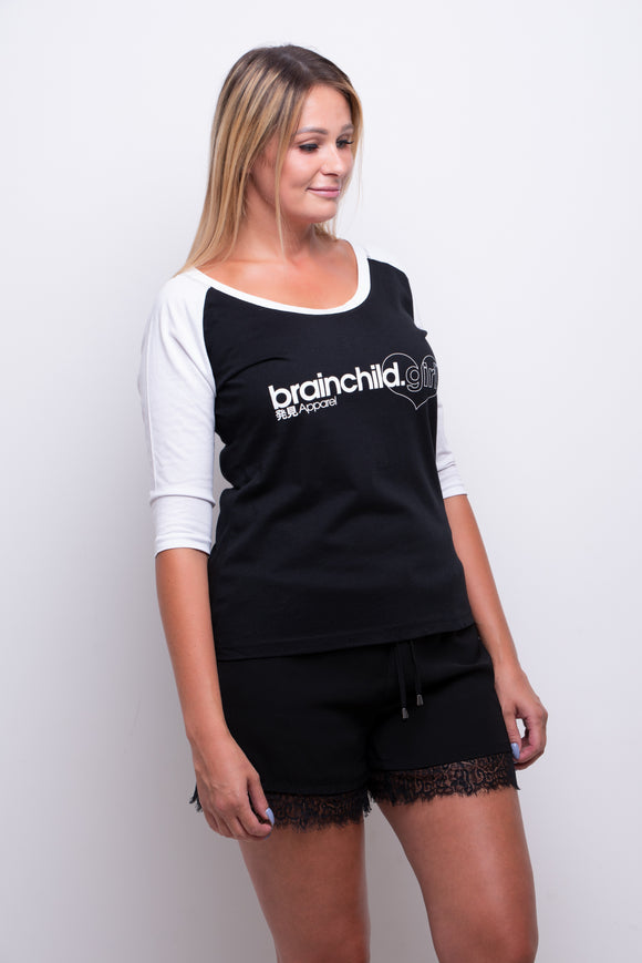 Ladies Black/White 3/4 Contrast Raglan T-shirt