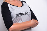 Ladies Grey/Black 3/4 Contrast Raglan T-shirt