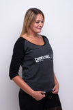 Ladies Charcoal Grey/Black 3/4 Contrast Raglan T-shirt