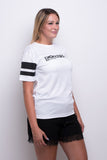 Ladies White Stripe Mesh T-shirt
