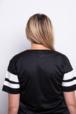 Ladies Black Stripe Mesh T-shirt