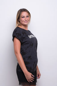Ladies Dark Blue/Black Batic Extended Shoulder T-shirt
