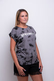 Ladies Grey/Black Batic Extended Shoulder T-shirt
