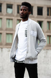 Men's Mel. Grey/ White Stripe Varsity Jacket