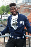 Men's Navy Blue/ White Stripe Varsity Jacket