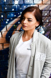 Women's Mel. Grey/ White Stripe Varsity Jacket