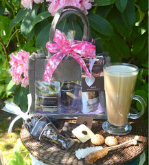Coffee Gift Bag with Italian amaretti, coffee beans, chocolate, sugar swizzle sticks, glass mug and mini jar