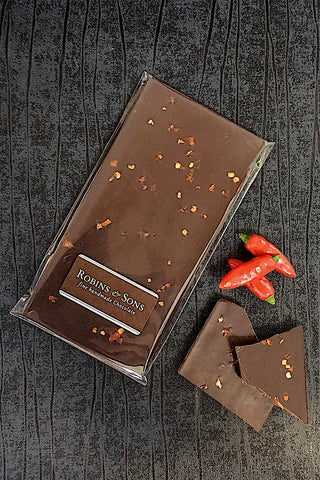 70% dark chocolate bar with chilli and ophir oriental gin