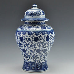 Ming blue and white porcelain storage ginger jar
