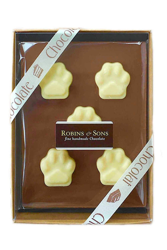 Thank you for looking after the dog milk chocolate gift boxed bar with white chocolate paw prints