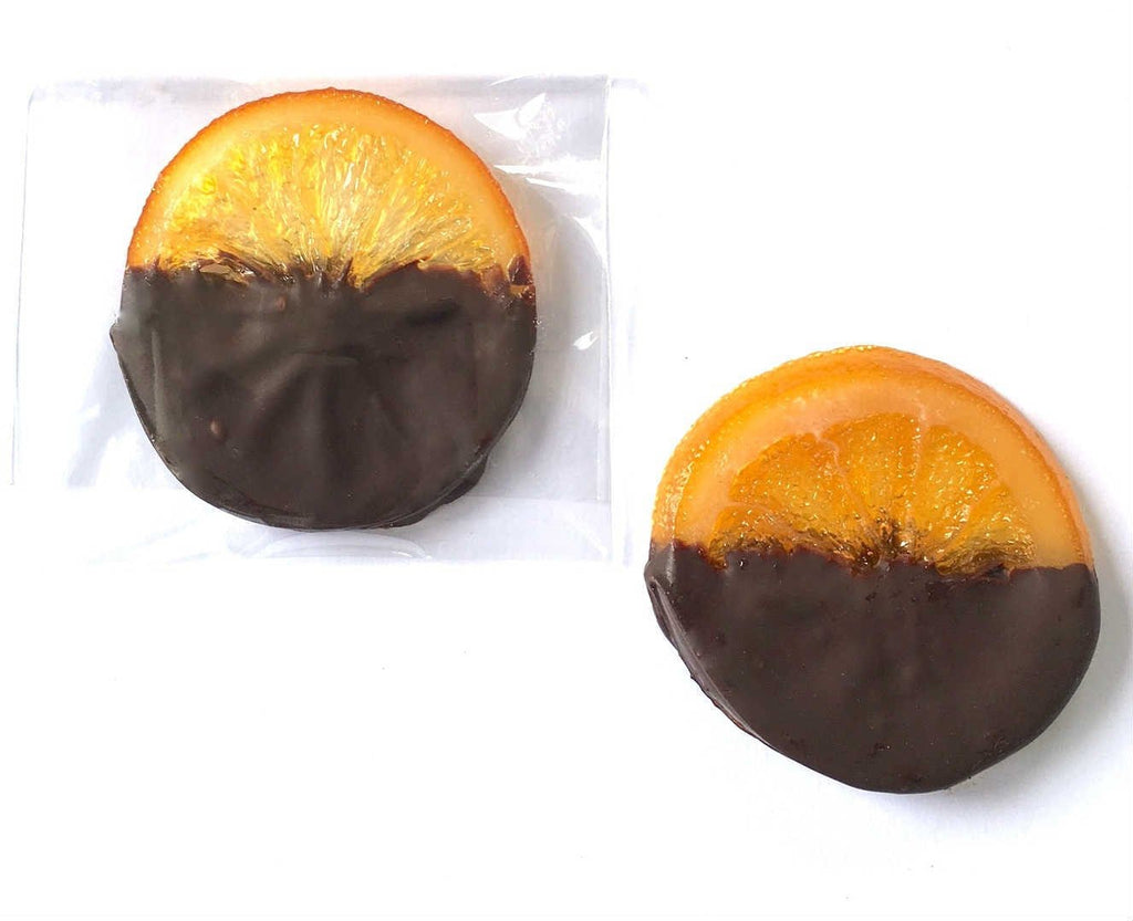 individually wrapped Candied orange slices in Belgian 70% dark chocolate