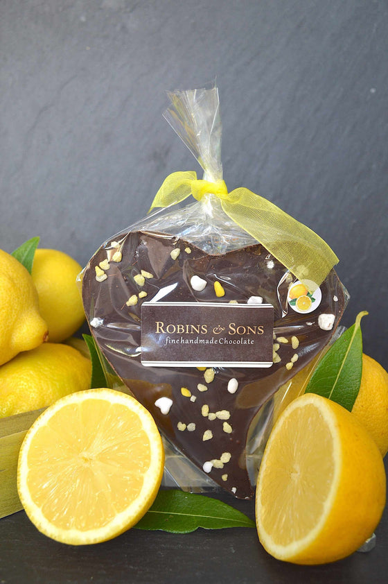 Luxury lemon 70% dark chocolate heart bar with natural lemon oil and meringue