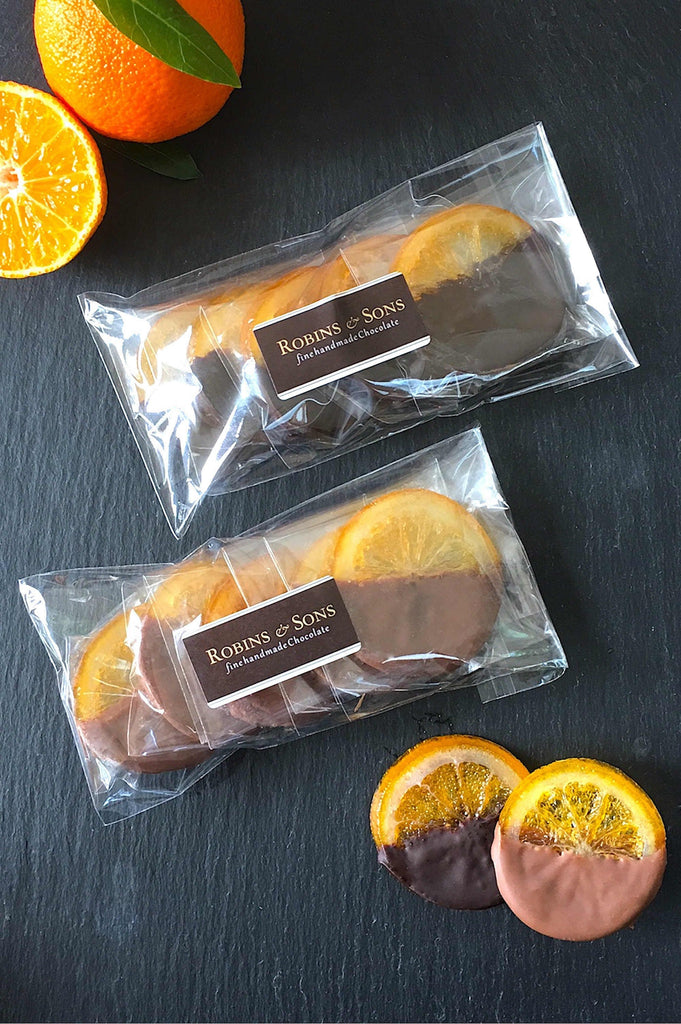 Candied orange slices in luxury Belgian milk or dark chocolate UK gifts corporate