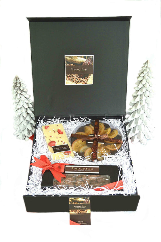 luxury brand chocolate covered oranges and nuts gift box, milk, ark and white Belgian chocolate