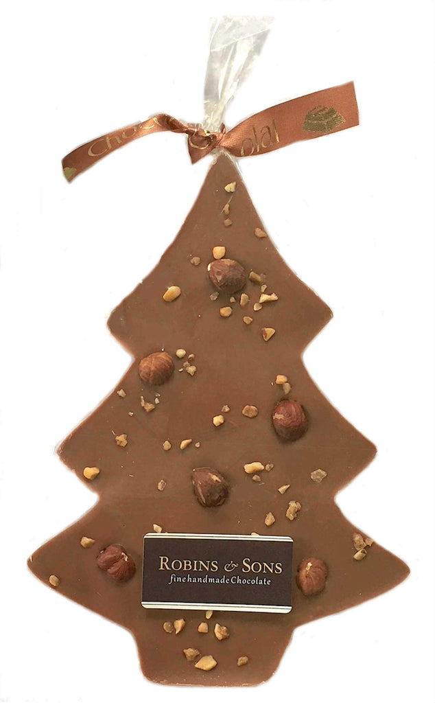 Christmas Chocolate gift hamper - christmas tree bar with hazelnuts