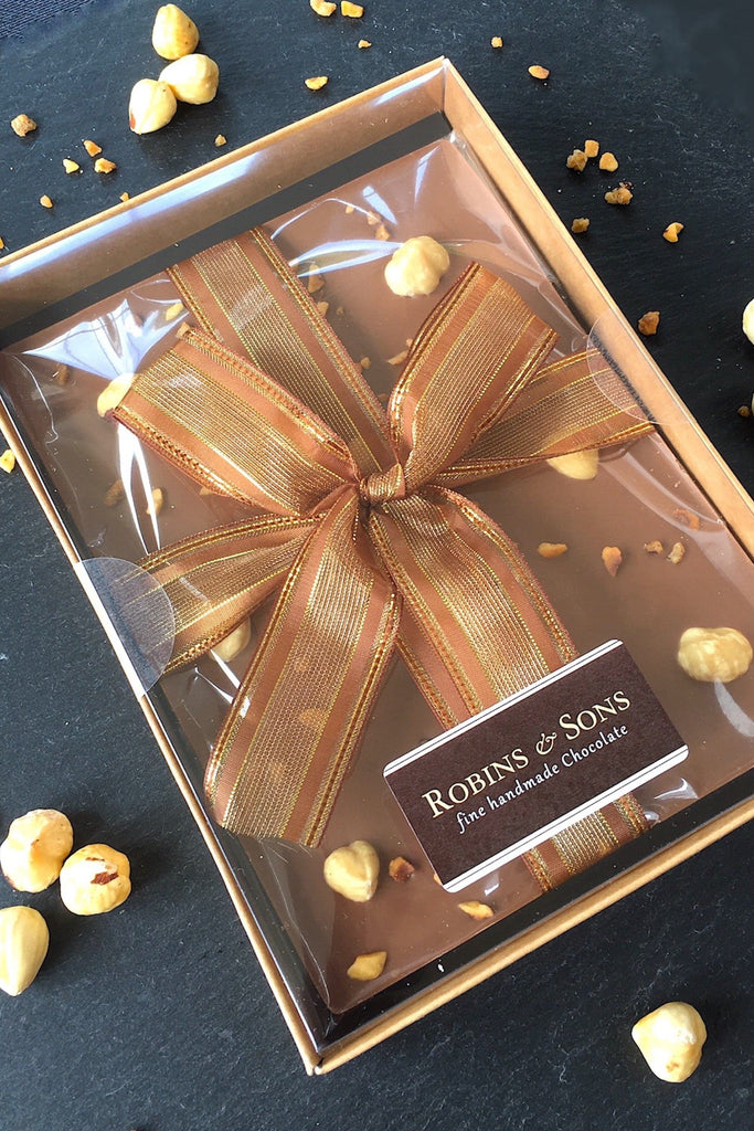 Luxury Milk Chocolate with hazelnuts gift boxed bar