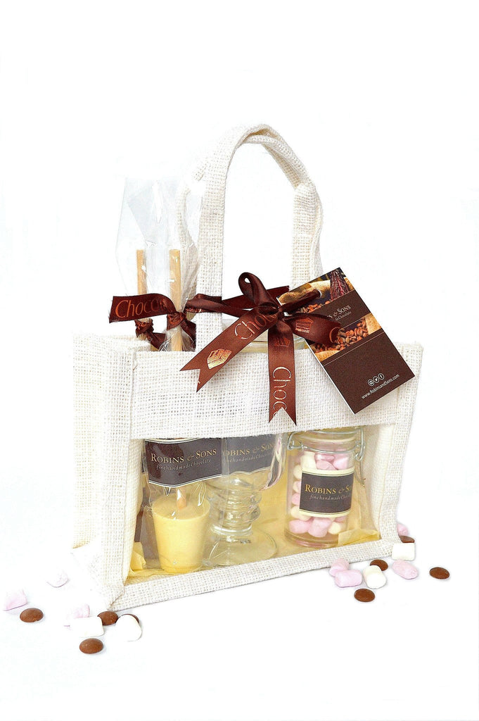 Buy luxury gifts online Belgian Hot chocolate gift bag marshmallows