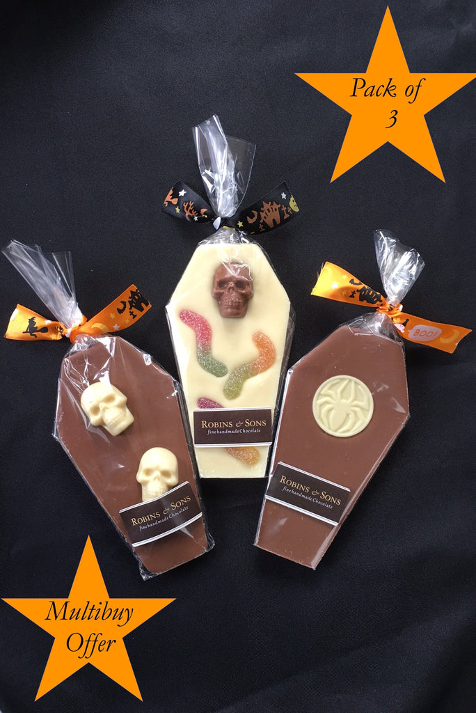 Buy Halloween milk and white chocolate coffins online - pack of 3