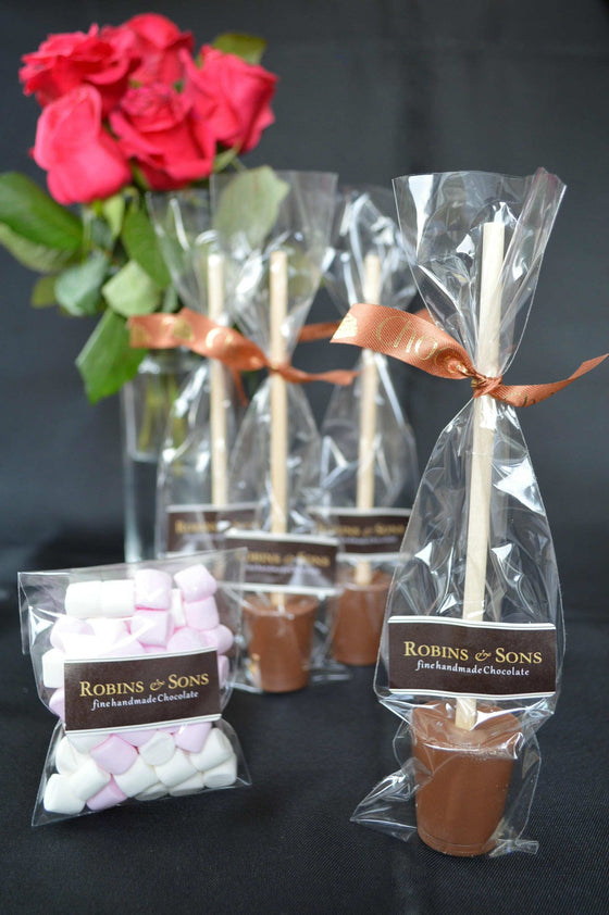 Finest Milk chocolate hot chocolate stirrers with marshmallows 4 pack