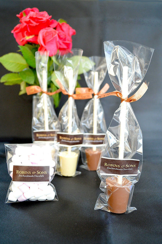 Luxury brand White and milk chocolate hot chocolate spoons stirrers UK