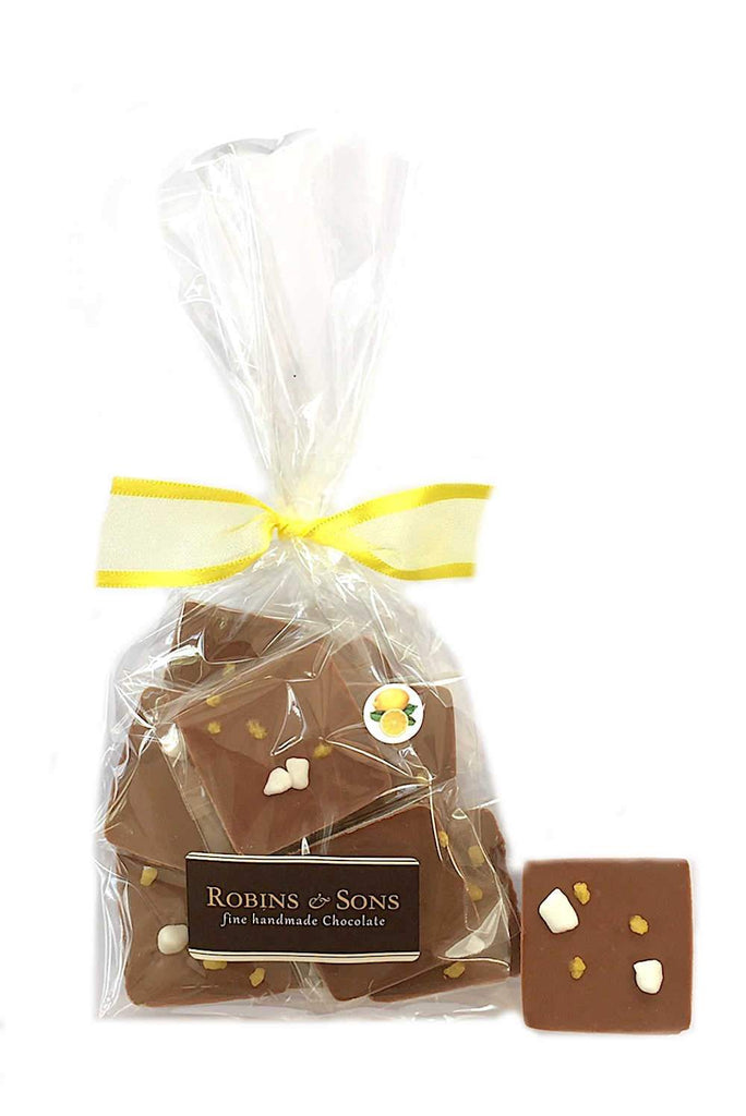 Promotional gift luxury Belgian milk chocolate squares with natural lemon oil