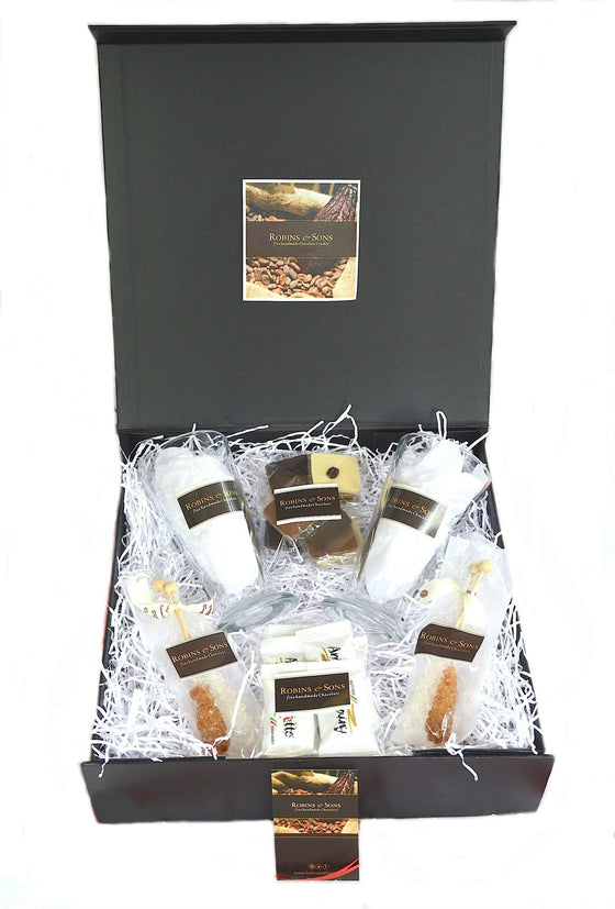 Luxury Coffee, chocolate, amaretti gift box with sugar swizzle sticks and glass latte mugs