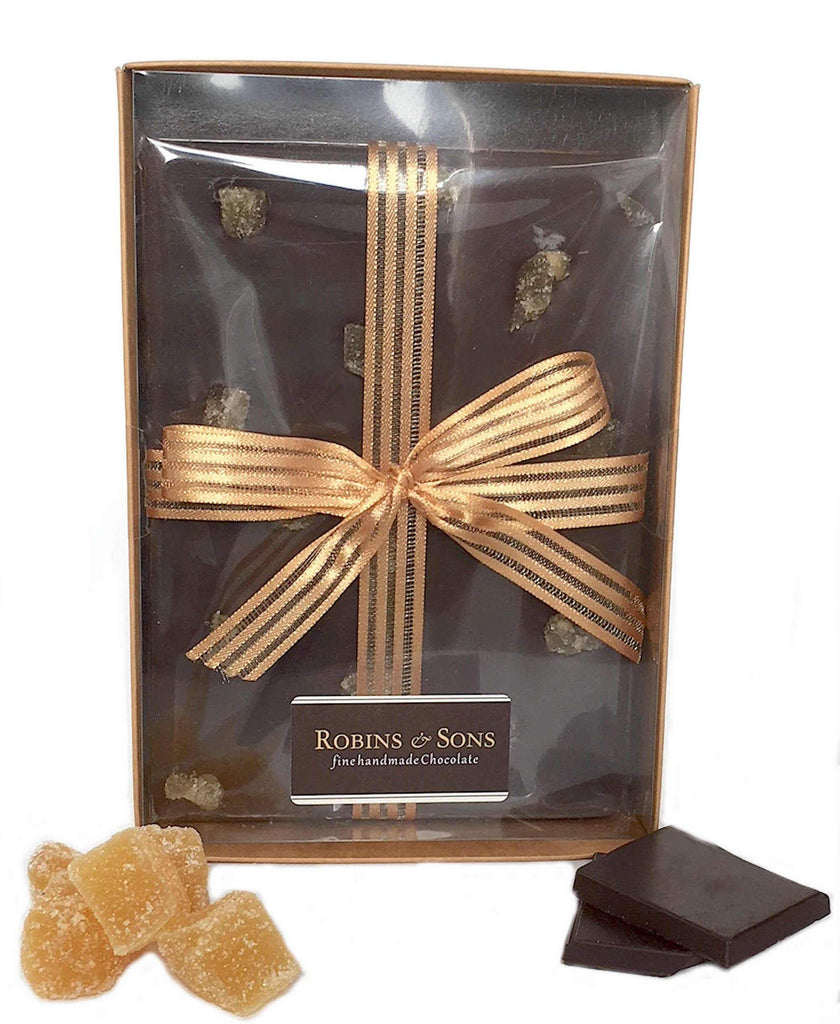 80% dark chocolate topped with crystallised ginger - gift boxed bar
