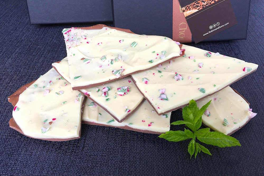 luxury mint chocolate bar peppermint bark milk and white with peppermint candy cane UK