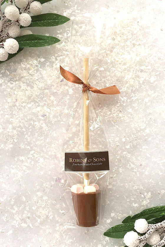 Milk Hot Chocolate Stirrers spoons with marshmallows Stocking fillers UK