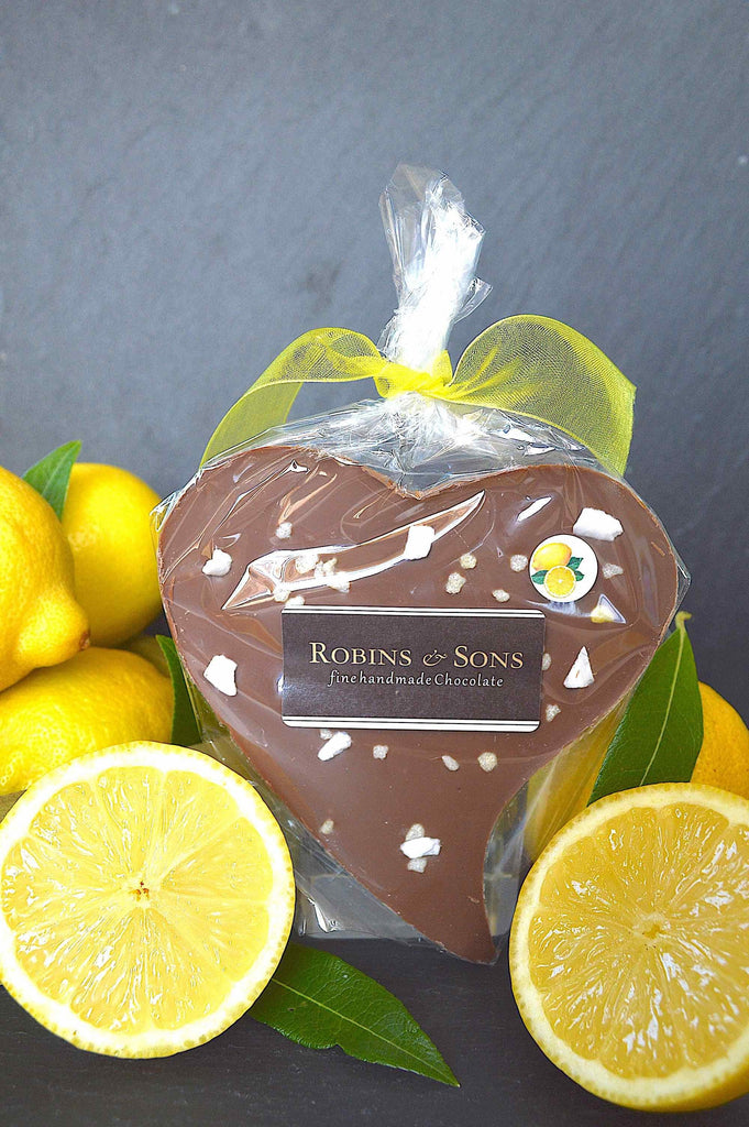Luxury lemon Belgian milk chocolate heart bar, gift under £5, corporate UK