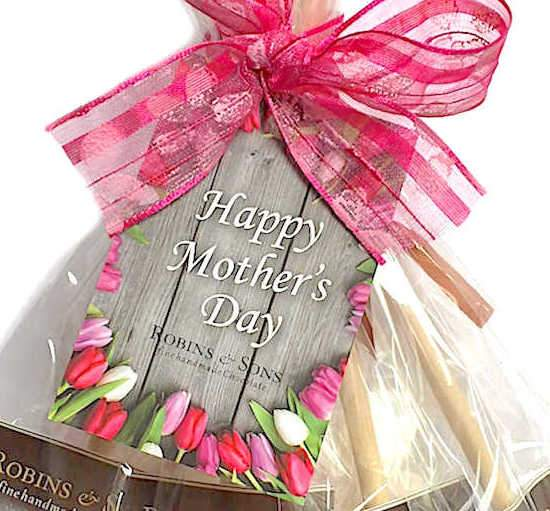 Close up Happy Mother's Day gift tag - Hot Chocolate stirrers sticks