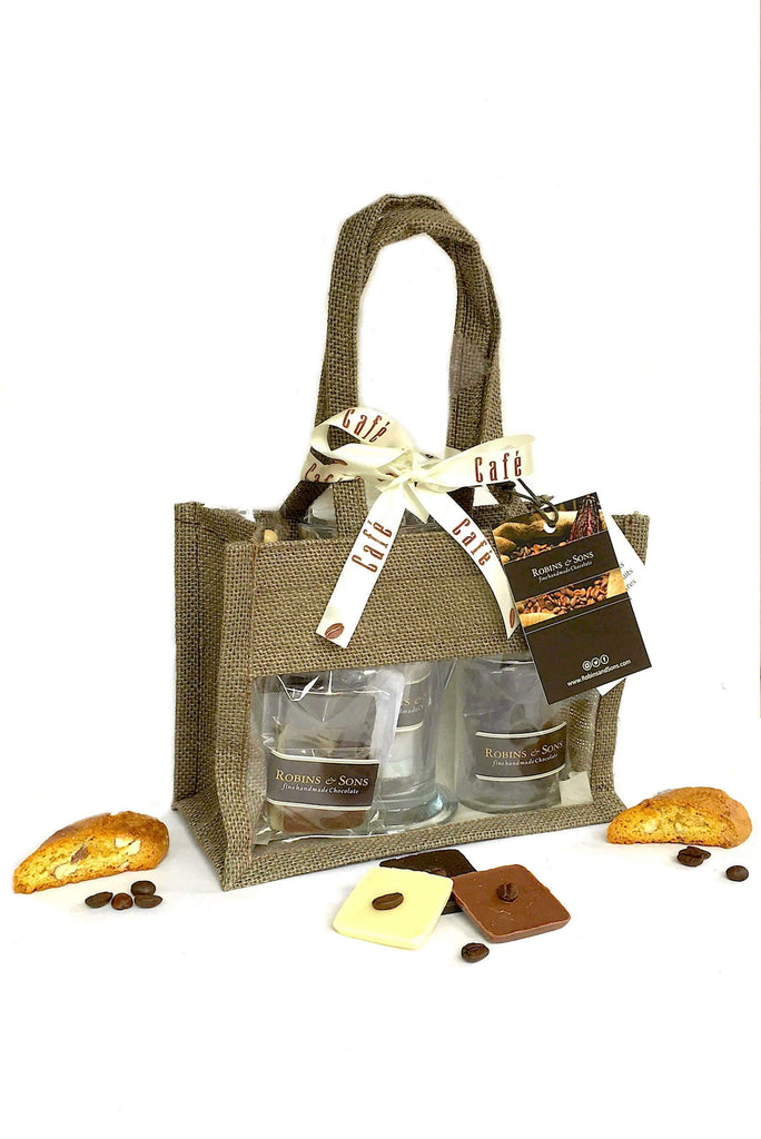 Gift bag with milk, white, dark chocolate, coffee beans, Italian cantuccini and sugar swizzle sticks