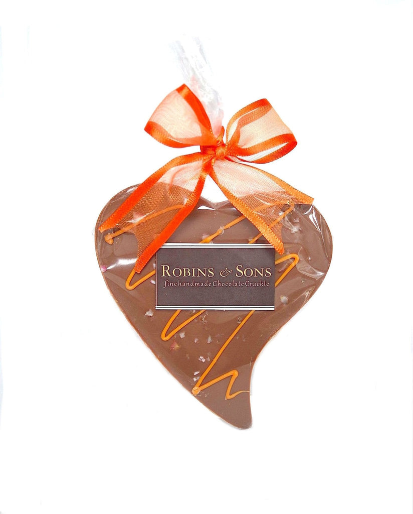 buy online luxury Orange Crackle Milk Chocolate valentine heart gift