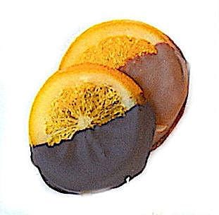 Individually wrapped 70% dark chocolate coated orange slices