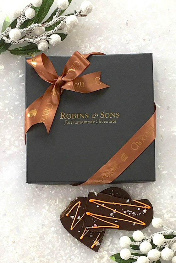 Luxury Belgian dark chocolate with natural orange oil and fruit candy cane pieces UK