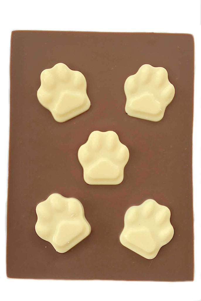 Cat / Dog owner milk chocolate gift bar with white chocolate paw prints UK