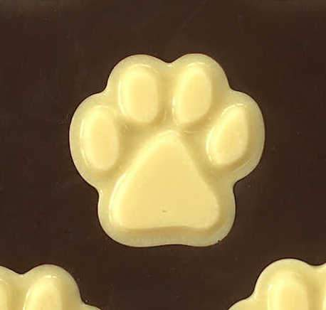 Belgian Dark chocolate gift bar with white chocolate paw print shapes