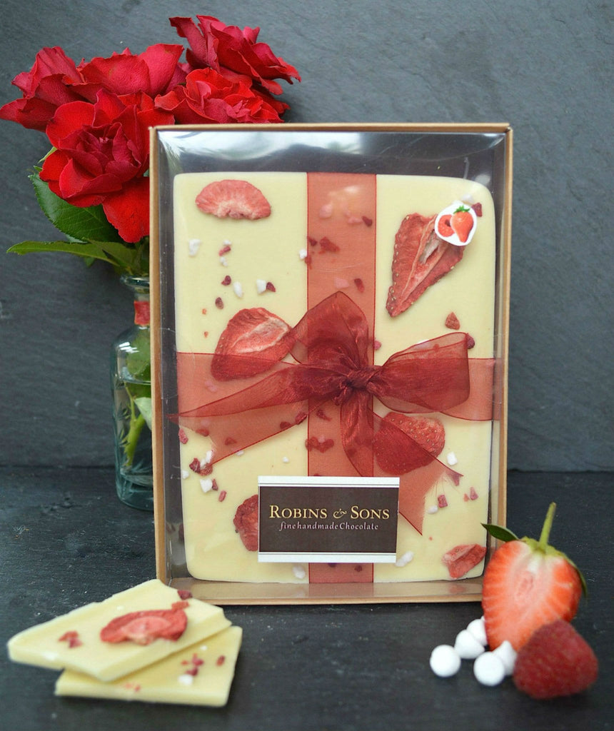 luxury belgian white chocolate bar with strawberries raspberries meringue