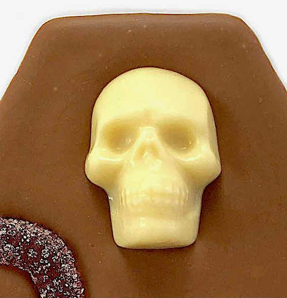Novelty Halloween Milk Chocolate Skull coffin bar close up