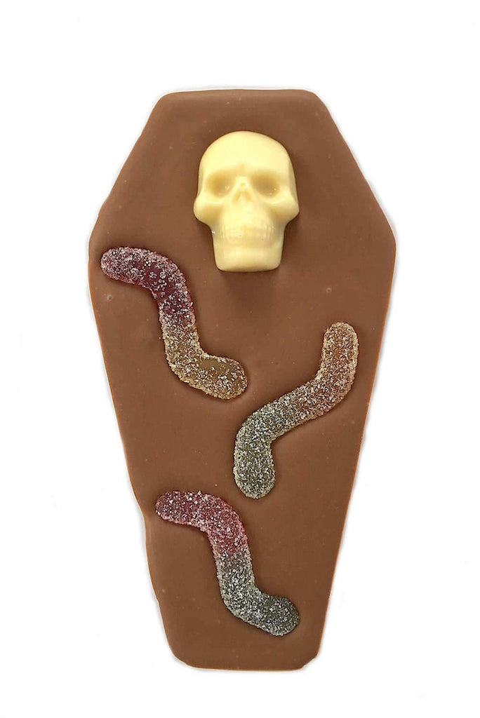 Novelty Halloween Milk Chocolate Skull coffin bar