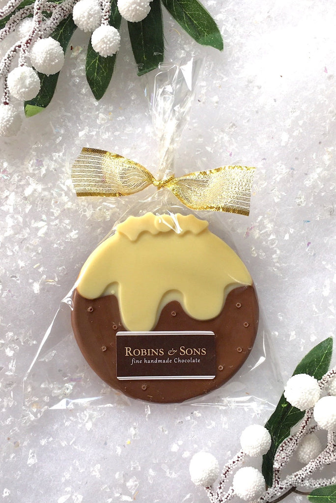 milk and white Belgian chocolate novelty christmas pudding