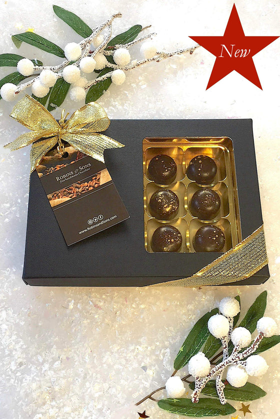 luxury box of luxardo cherries coated in 80% dark chocolate
